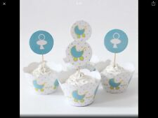 12 Blue White Baby Shower Cupcake Wrappers and Toppers