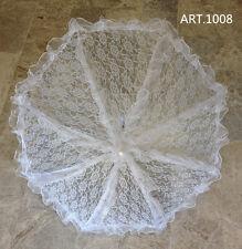 Ombrello  da sposa MATRIMONIO BIANCO con pizzo  wedding  feste.. lunghezaa  70cm
