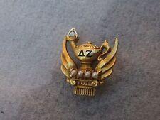 Delta Zeta Sorority Pin w/Gems Vintage 1928 10k Solid Gold