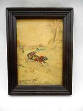 Vintage Oil Painting Wood Frame Snow Scene Horse Drawn Sleigh by BETTY C SHAUB