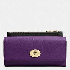 NWT Coach Embossed Textured Leather Slim Envelope Wallet Pouch F52345 Violet