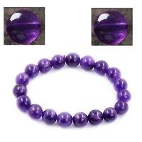 Amethyst Beads Bracelet Purple Stone Unisex Bracelet 7.5inch long