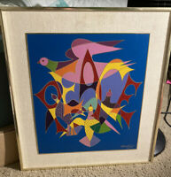 Chaim Gross Enameled Etching Artwork - Peace - Pop Art - Doves