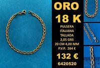 18K Pulsera Italiana Tallada 4 MM 20 CM Oro 18 Kilates 100%