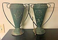 Vintage Antique Pair Freemason Masonic Urn Trophy Vase Metal Jr. O.U.A.M. Green