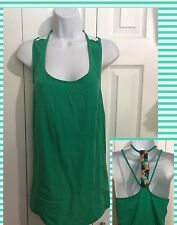 ALLEN B Gorgeous Silky Green Sequin Top Shirt Blouse LARGE Career Casual