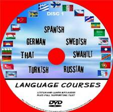 7 EASY TO FOLLOW LANGUAGE COURSES PC-DVD AUDIO / TEXT SYSTEM SPANISH TURKISH 1