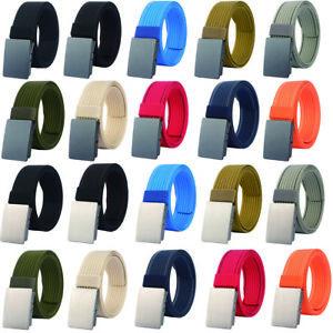 """1.5"""" Nylon Belt for Men Automatic Buckle Adjustable Webbing Golf Belt 16 Colors"""
