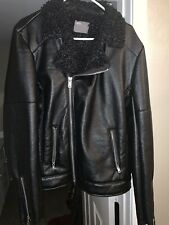 Men's Faux Leather Biker Jacket W/ Curly Faux Shearling Lapel In Black Size L