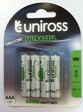 4 x AAA UNiROSS  Batteries ULTRACELL Super Heavy Duty Zinc Batteries (LR3,LR03