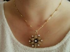 Pearl and Diamond Flower Pin/ Pendant Necklace in14k/18k Yellow Gold- HM1256