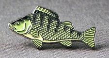 Metal Enamel Pin Badge Brooch Fish Perch Fishing Angler Angling