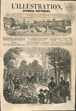 Un départ de chasse Forêt de Compiègne avec chiens et équipage ILLUSTRATION 1856