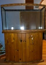 Curved Glass fish tank with Oak stand, 50 gallons