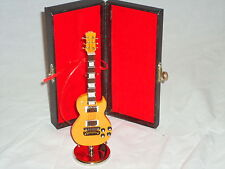 Electric Guitar Yellow In Hard Black Case Miniature Musical Instrument Nice Gift