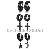 3Pairs Stainless Steel Cross Moon Star Dangle Hoop Earrings Stud for Men Women