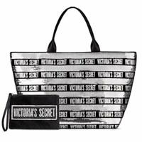 Victoria's Secret Black Friday Tote Large Black and Silver Sequins with a Small