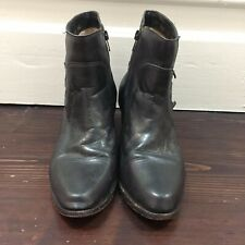 Vintage Black Leather Ankle Boots with Zip Closure, Sz 8.5 Au