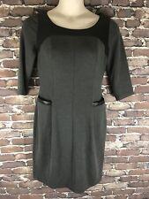 Kay Unger New York Grey Black 3/4 Sleeve Sheath Dress Sz 10 Stretch Lined Career