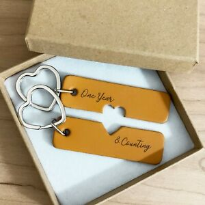 His & Hers Keyrings Engraved Leather Key Chain, First Anniversary Gift One Year