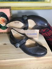 SANITA Shoes Mary Janes SZ 40 Brown  Leather Shoes Dansko Silver Buckle Detail