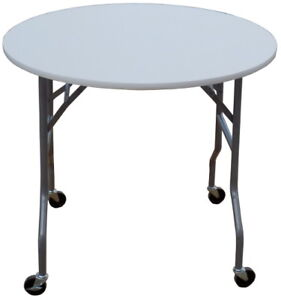 36 Inch Round Folding Table on Wheels (Great for weddings, cake table)