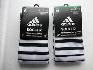Adidas Team Speed Soccer Socks White w/Black Stripes  Climacool  S-M-L  NWT