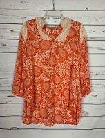 Boutique Nostalgia Women's L Large Orange Floral Lace Cute Spring Blouse Top