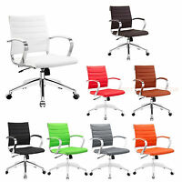 Padded Desk Office Mid Back Chair Rolling Casters Mid-Century Modern - 8 Colors