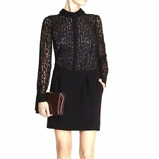Karen Millen Black Lace Drop Waist Shirt Shift Dress 10 UK Cocktail Office