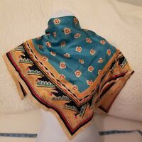 Very Vintage Echo  Southwest Scarf/ Teal/Black/Red 26x26 Square