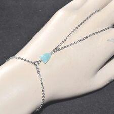 Chaîne de main bracelet bague acier (colori argent ) Amazonite naturelle bijou