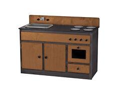 KITCHEN SINK STOVE & OVEN ~WALNUT & BLACK Amish Handmade Play Toy Furniture USA