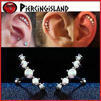 Opal five-stone Ear Climber Cartilage Helix Stud Ring Bar Piercing Earring NEW