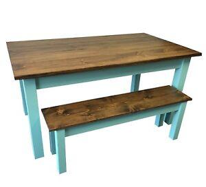 Vintage Blue Farmhouse Table (Rustic Harvest Farmhouse Kitchen Dinning Table)