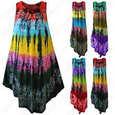 Ladies Tie-Dye Print Tunic Umbrella Dress Women Long Summer Boho Beach Over Top