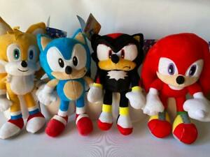 """SEGA SONIC THE HEDGEHOG SOFT TOY - KNUCKLES, SHADOW, TAILS, SONIC 12"""" 30CM - NEW"""