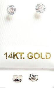 14kt White Gold - 5MM 1 Carat CZ Stud Earring-14K BACKS-GIFT BOX - FREE SHIPPING