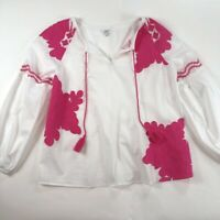Crown & Ivy Womens Blouse White Pink Floral Applique Long Sleeve Sheer Cotton L