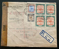 1943 Khartoum Sudan Egyptian Bank Censored  Airmail Cover To New York USA