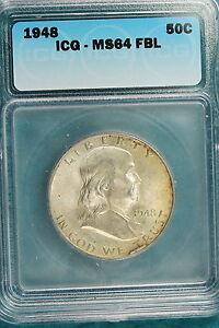 1948 ICG  MS64 FULL BELL LINES Franklin Half Dollar!! *IP