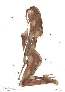 original painting A3 379SA art samovar modern Watercolor female nude alla prima