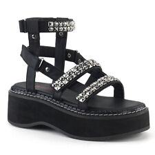 "*Demonia Vegan Black 2"" Platform Mega Studded Strappy Gladiator Sandals Shoes 7"