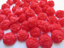 50 bright red mini roses - edible sugar cake topper decorations sprinkles 1cm