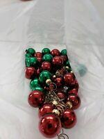 Lot of RED & GREEN Vintage Mini Glass Balls Christmas Tree Ornaments