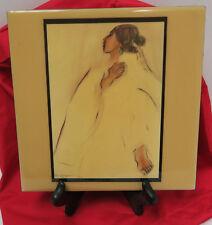 "Wall Plaque Ceramic Tile Art R.C. Gorman Indian Woman Signed 1975 8"" x 8"""