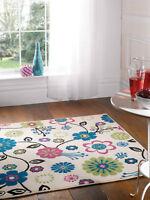 "Modern Floral Design Multi Coloured Rug in 120 x 160 cm (4'x5'3"") Carpet"