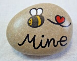 Pebble art and craft.Hand painted rocks, stones, 'Bee mine', unique gift