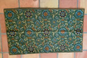 Vintage SILK Handmade 2.4'x4.3' Rug Crewel Chain-Stitch Embroidery Kashmir India