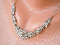 Altes geprüftes Silber Collier,Kette Rosendekor mit Markasiten 12,5 g/L 43 cm
